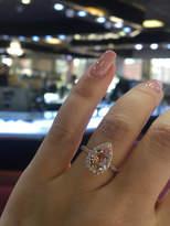 Etsy 14K Rose Gold Natural Morganite and Diamond Halo Ring Pear Shape Art Deco Antique Engagement Ring Bi