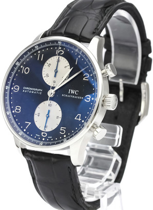 IWC Black Stainless Steel Portuguese Chronograph Automatic IW371404 Men's Wristwatch 41 MM