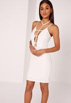 Missguided Strappy Harness Detail Bodycon Midi Dress White