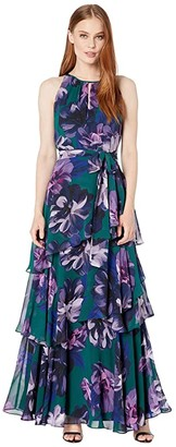 Tahari ASL Printed Floral Chiffon Full-Length Gown w/ Keyhole Neckline and Tiered Skirt (Purple/Green Floral) Women's Clothing