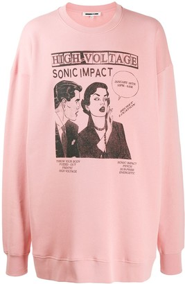 McQ Swallow Oversized Comic Print Hoodie