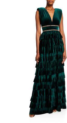 Bronx and Banco Deep V-Neck Sleeveless Tiered Velvet Gown w/ Waist Trim