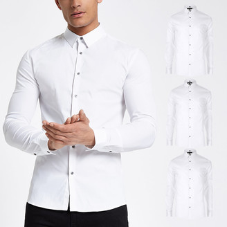 River Island White muscle fit long sleeve shirt 3 pack