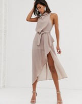 Asos Design DESIGN drape neck midi dress in textured fabric with self belt