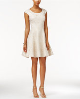 Betsey Johnson Textured Metallic Fit & Flare Dress