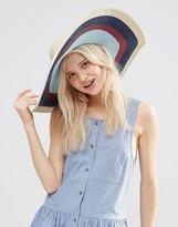Asos Straw Floppy Hat With Stripe Under Brim
