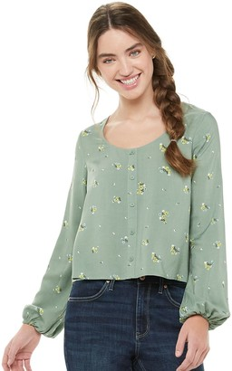 Love, Fire Juniors' Long Sleeve Button Front Shirt