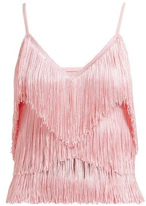 Norma Kamali Tiered-fringe Stretch-jersey Crop Top - Womens - Pink