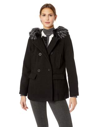 Details Women's Double Breasted Faux Wool Peacoat