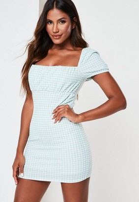 Missguided Sage Gingham Milkmaid Mini Dress