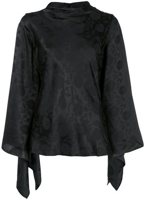 Josie Natori Flared Jacquard Top