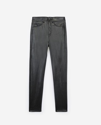 The Kooples Fitted jean-style black leather trousers