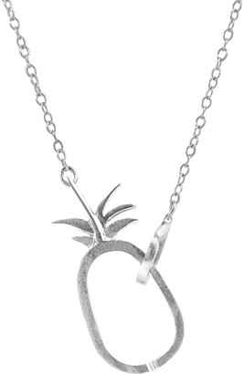 Tropical Pineapple Link Paradise Silver Necklace Pendant