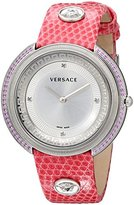 """Versace Women's VA707 0013 """"Thea"""" Sapphire and Diamond-Accented Stainless Steel Watch with Pink Leather Band"""