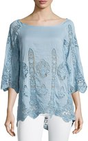 XCVI Lace Panel Boat-Neck Cotton-Blend Top, French Blue