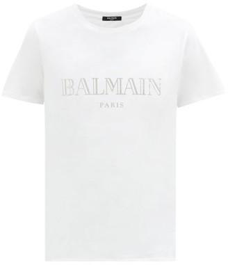 Balmain Logo-print Cotton-jersey T-shirt - White Silver