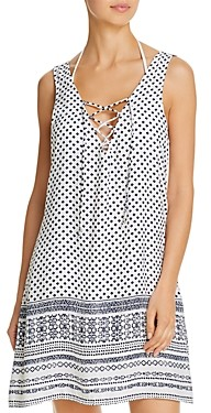 J Valdi Lace-Up Tank Dress Swim Cover-Up