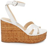 Prada Basketweave Patent Leather Wedge Sandals