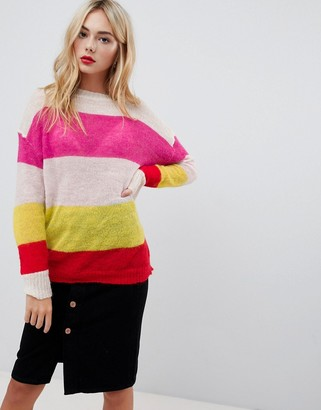 Glamorous relaxed sweater in loose knit stripe-Multi