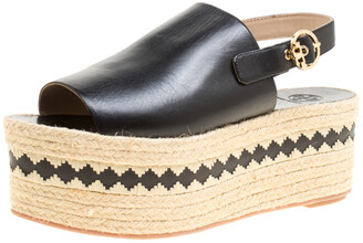 Tory Burch Black Leather Dandy Peep Toe Platform Espadrille Sandals Size 40