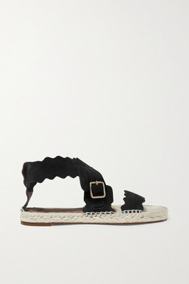 Chloé Lauren Suede Espadrille Sandals - Black