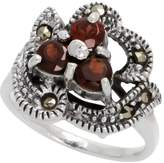 "Sabrina Silver Sterling Silver Marcasite Freeform Ring, w/ Brilliant Cut Natural Garnet, 9/16"" (15 mm) wide, size 9"