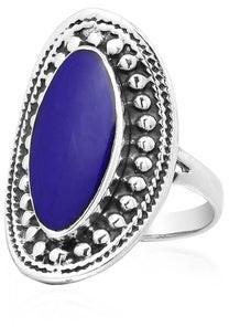 Aeravida Handmade Vintage Framed Oval Stone Sterling Silver Statement Ring