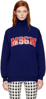 MSGM Blue Logo Turtleneck Sweatshirt
