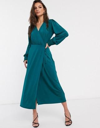 Asos Design DESIGN jersey satin wrap midi dress in teal-Blue