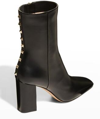Valentino Garavani Rockstud Calfskin Zip Booties