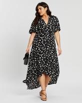 Missguided Curve Floral Dip Hem Midi Dress