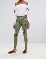 Urban Bliss Jenna Twill Skinny Jean With Rips