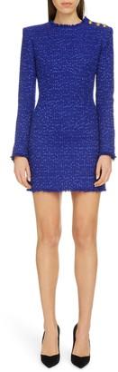 Balmain Tweed Long Sleeve Minidress