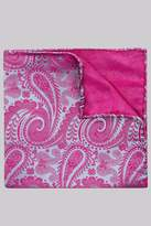 Moss Bros Pink and Blue Paisley Silk Pocket Square