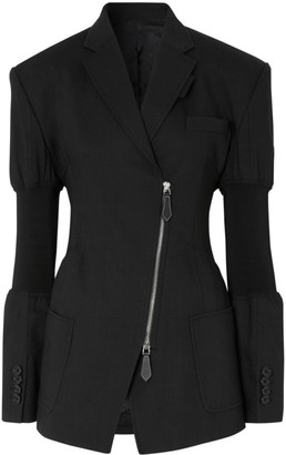 Burberry Asymmetric Tailored Rib-Cuff Jacket