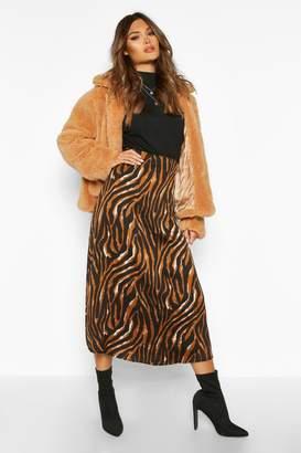 boohoo Tiger Full Woven Midi Skirt