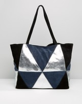Asos Metallic Suede Patchwork Shopper Bag