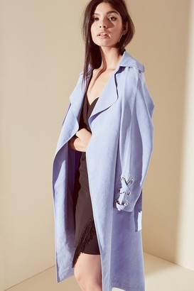 Girls On Film Blue Soft Touch Trench Coat