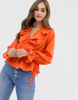 Asos Design DESIGN long sleeve wrap top with ruffle detail-Red