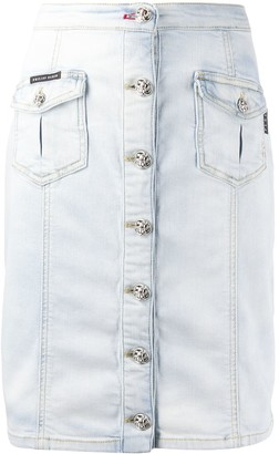 Philipp Plein Buttoned Denim Skirt