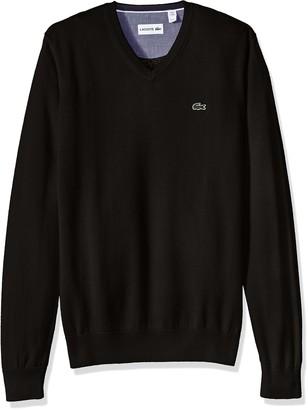 Lacoste Men's Cotton Jersey V-Neck Sweater