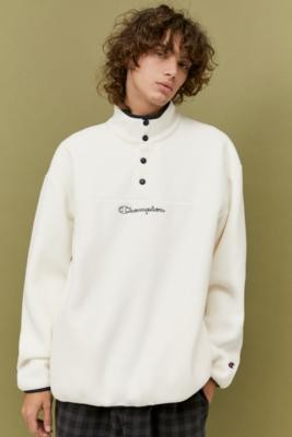 Champion UO Exclusive Ecru Popover Polar Fleece Sweatshirt - Beige M at Urban Outfitters