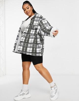 Lasula Plus oversized check shirt in mono check print