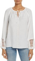 T Tahari Beckett Embellished Peasant Blouse
