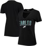 New Era Women's Black Philadelphia Eagles Gradient Glitter Choker V-Neck T-Shirt