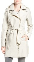 Vince Camuto Women's Belted Asymmetrical Zip Trench Coat