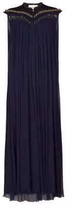 Chloé Beaded-neck Plisse Silk-chiffon Gown - Womens - Navy
