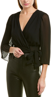 Alice + Olivia Bray Silk Wrap Top
