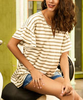 Suzanne Betro Weekend Women's Tunics 101GREY/WHITE - Gray & White Stripe Ruffle-Sleeve Notch Neck Tunic - Women
