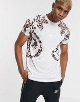 SikSilk oversized t-shirt in white with baroque print